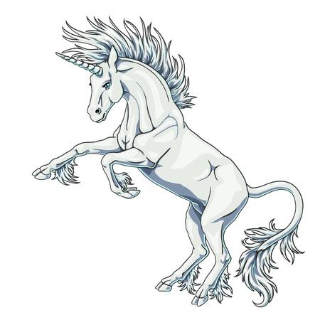 State white unicorn on white Illustration