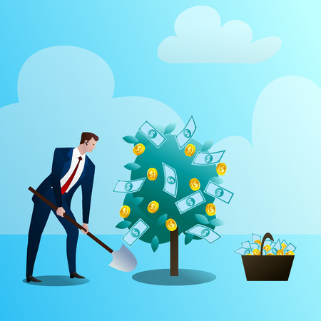 Businessman grows up media monetary tree