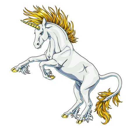State white and gold unicorn on white Иллюстрация