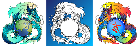 Wise Dragons colorful and line-art Фото со стока - 103676257