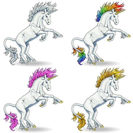 Set State white unicorns colorful Иллюстрация