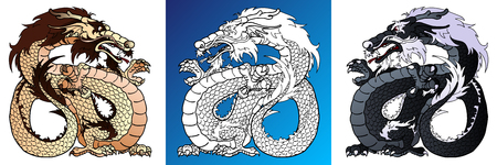 Strong Dragons colorful and line-art