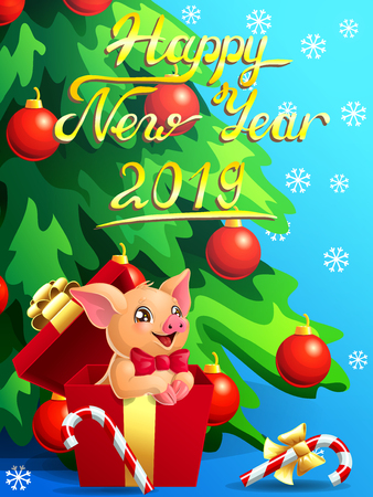 Gift card with a lovely cute yellow little pig with red bow in box, a fir-tree, a Candy cane and an inscription of Happy New year 2019 on blue. A vector illustration in cartoon 3d style, vertical