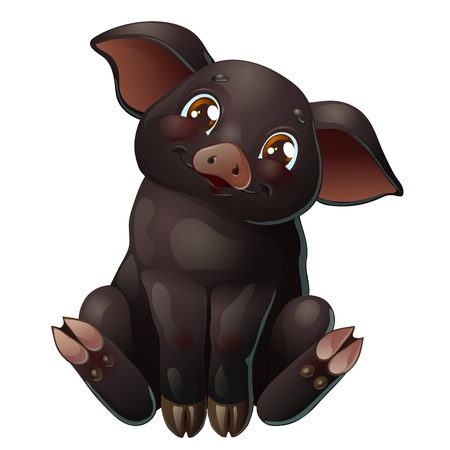 Cute black pig sits on white Иллюстрация