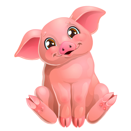 Cute pink pig sits on white Иллюстрация
