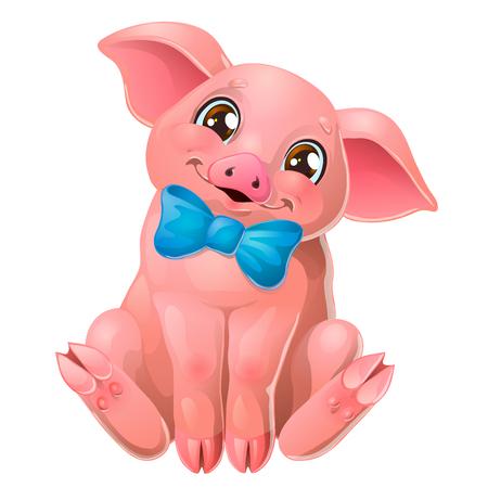 Niedliches rosa Schwein mit Schleife sitzt auf Weiß