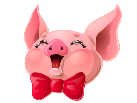 Joyful pink pig head and red bow on white