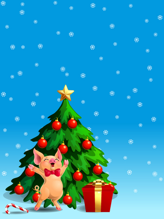 A joyful cute yellow pig with red bow and a fir-tree with spheres and star, a Candy cane and gift box on blue with snowflakers. A vector illustration in cartoon style, vertical