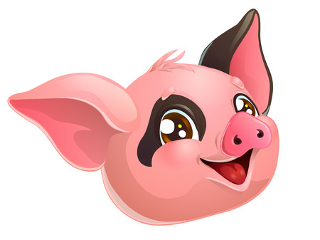 Lovely pink and black pig head on white Иллюстрация