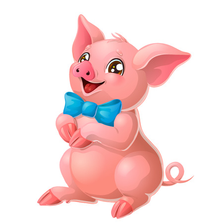 Lovely pink pig with blue bow on white