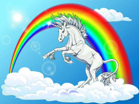 The state proud snow-white unicorn who got on hind legs on white blue background with clouds, sun and rainbow. Magical horse animal. The cartoon manual illustration.