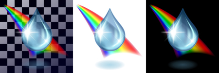 Water transparent blue drop and rainbow on transparents, white and black background separately. Concept of the test, realistic vector illustration.