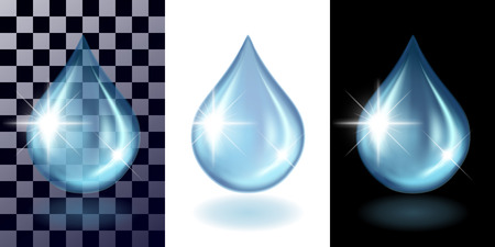 Water transparent blue drops and shadow on transparents, white and black background separately. Concept of the test, realistic vector illustration. Illustration