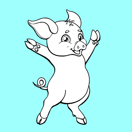 The cute pig contour on blue background