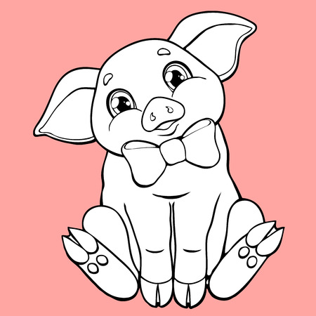 The cute pig contour on pink background