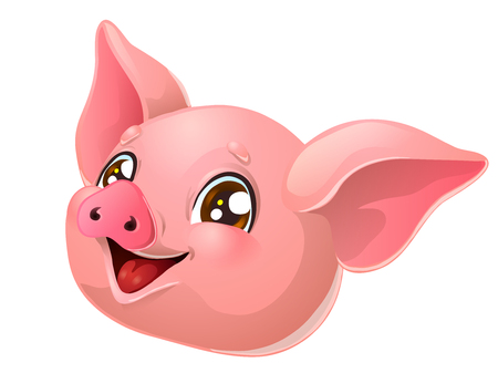 The lovely pink pig head on white Illustration