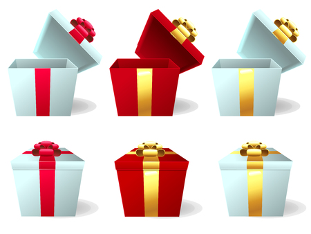 The set the red and white gift box with the red and gold bow in a white background. A cartoon vector illustration isolated on white. Иллюстрация