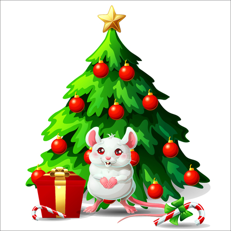 Cute white and pink mouse ang fir tree on white Ilustração