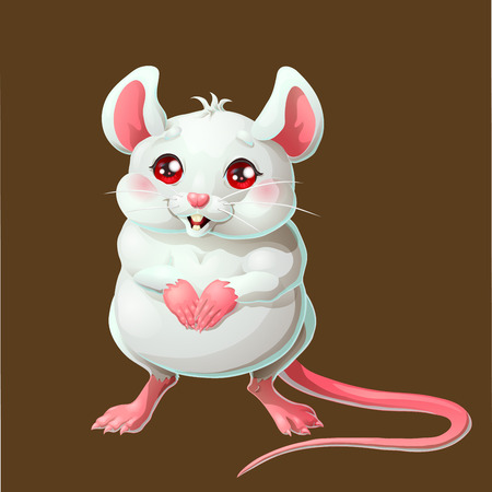 The cute white mouse on brown background