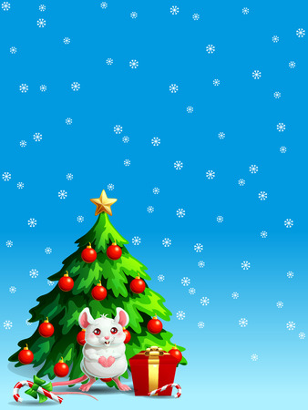 Cute white mouse ang fir tree vert Иллюстрация