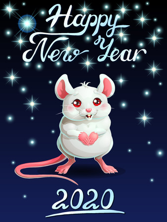The card cute white mouse ondark-blue vert