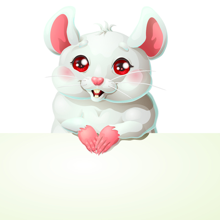 Cute white mouse and banner on white Иллюстрация