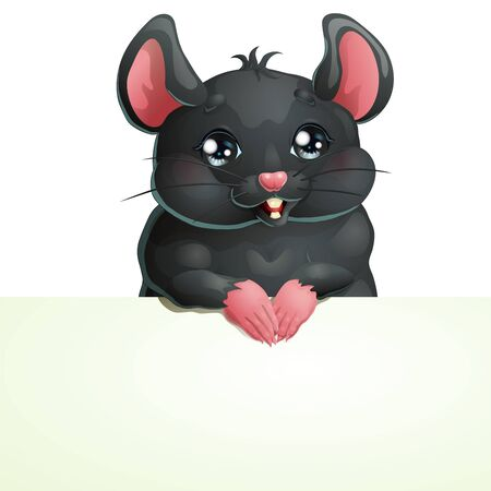 Cute black mouse and banner on white