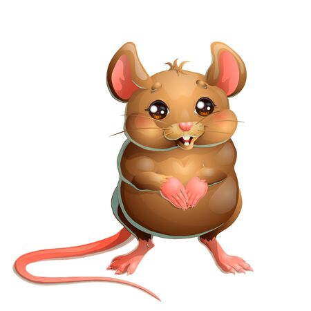 The cute brown mouse on white background Illustration