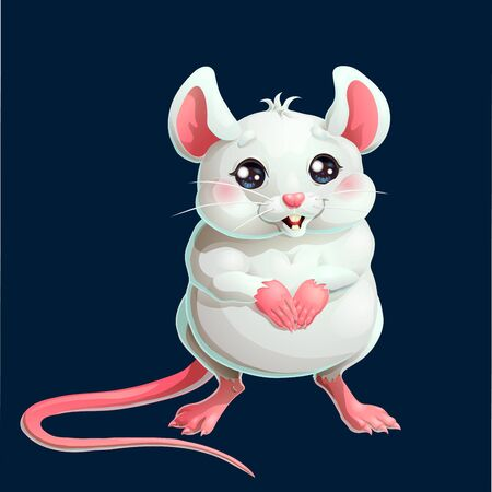 The cute white mouse on dark blue background