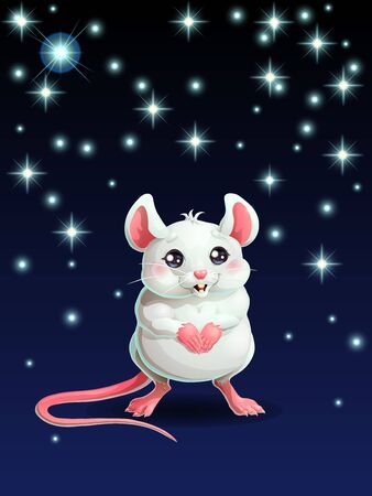 Cute white mouse and star on dark blue Illustration