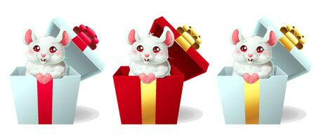 Set cute white and pink mouse in box