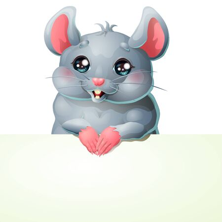 Cute grey mouse and banner on white