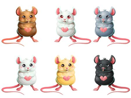 The set six cute mice on white