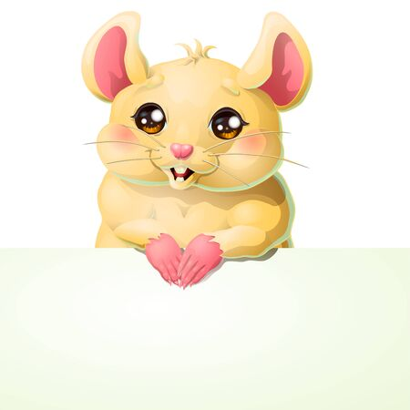 Cute yellow mouse and banner on white Иллюстрация