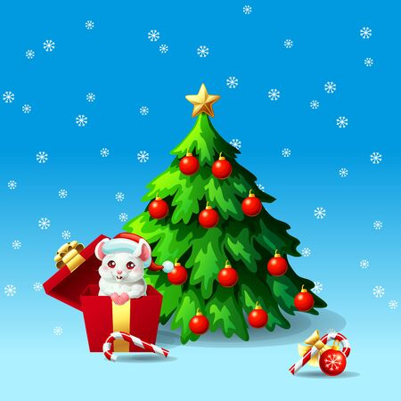 White mouse in box ang fir tree on blue