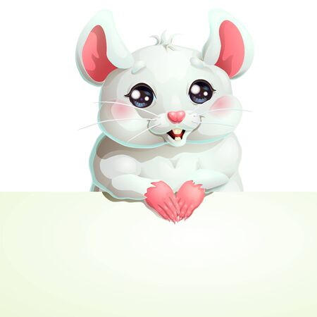 White mouse with black eyes and banner Иллюстрация