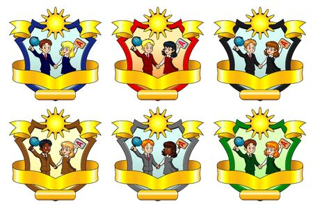 Set from six School emblem of a class Illustration