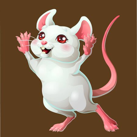 The ceerful white mouse on brown background