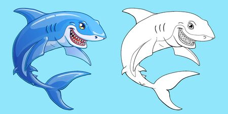 Smiling shark color and contour on blue Иллюстрация