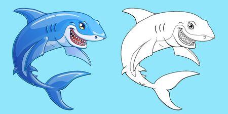 Smiling shark color and contour on blue Illustration