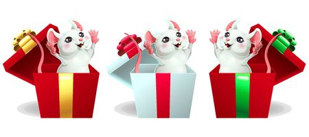 Set cheerful white and pink mouse in box Иллюстрация