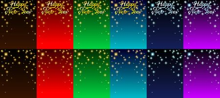 Set background Card with letters Happy New Year and gold and silver stars. Colorful dark brown. red, green, blue and violet colors. Vector cartoon illustration Illustration