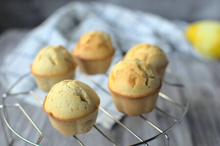 Close up of homemade lemon muffins chilling on metal rack.