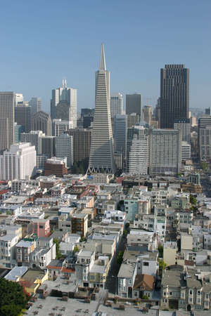 Aerial view of the North Beach district of San Francisco looking south toward downtown. Dominating the view are the towers of the TransAmerica Building and the Bank of America. photo