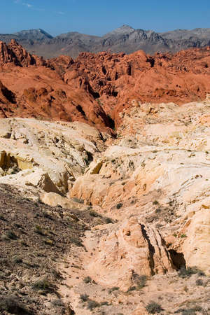 varying: Southwestern desert landscape showing sandstone colored by varying levels of iron contamination.