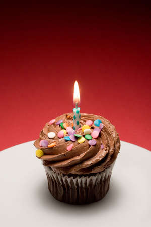 luscious: Chocolate birthday cupcake with chocolate frosting and sprinkles ready for wish making. Stock Photo
