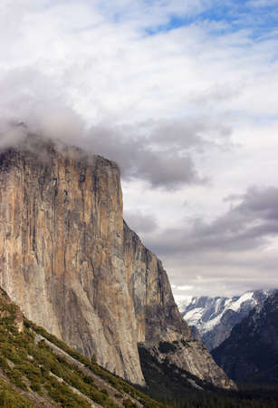 Last vestiges of a stormy winter retreat into the Sierra Nevada Mountains