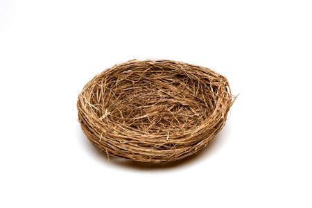 Empty bird's nest isolated on white background.