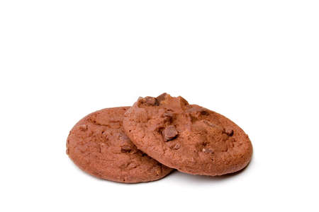 Two chocolate chocolate chip cookies isolated on a white background. Stock Photo - 497638