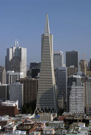 tallest: A view of the San Francisco skyline from North Beach toward the financial district with, from left to right, 345 California Center (third tallest skyscraper in San Francisco), the Transamerica building (tallest skyscraper in San Francisco), Citicorp Cente